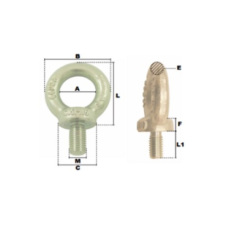 Schéma coté anneau mâle court ALMG