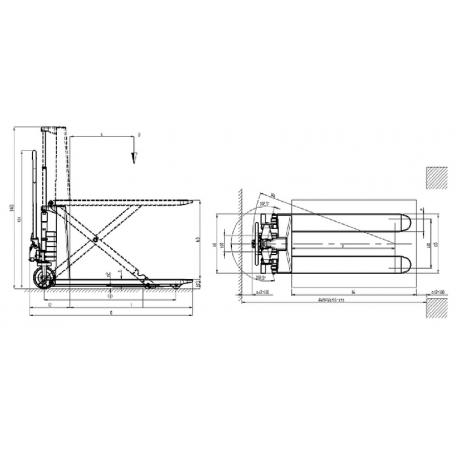 Transpalette manuel haute levée HX10M 1000 Kg