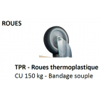 Roues bandage souple non tachant plateau 150 kg AXIOM