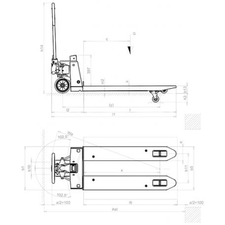 Schéma coté tire-palette PX20 manuel et peseur