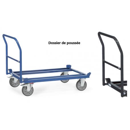 Dossier de poussée pour plateau roulant de palettes