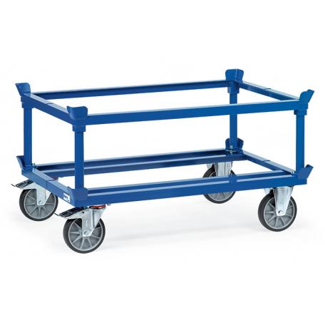 Rehausseur de palettes sur plateau roulant bleu RAL 5007