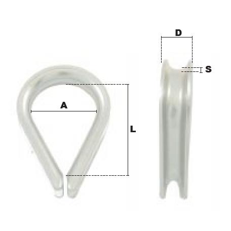 Schéma coté cosses-cœur grande ouverture en acier CGO - accessoire pour câble