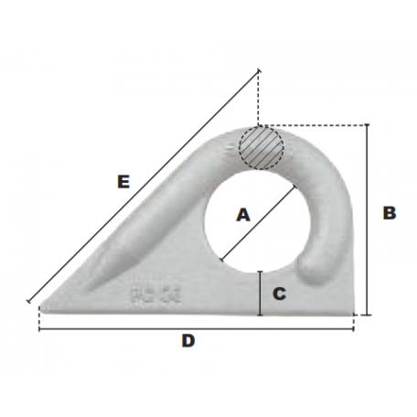 Schéma coté Anneau à souder 45° - accessoire de levage