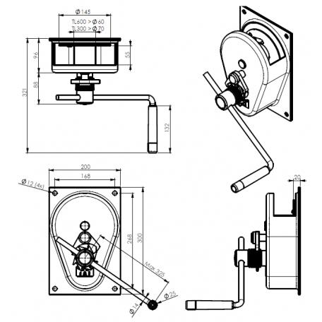 Schéma treuils à engrenages 300kg et 600 kg