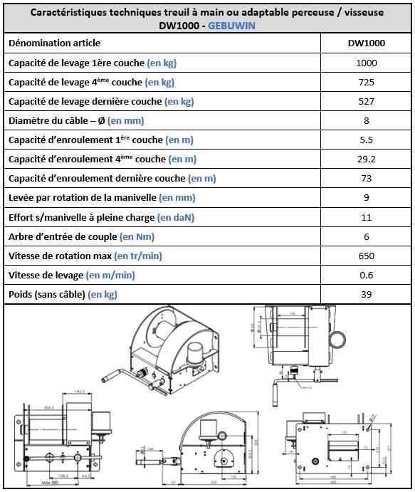 Spécifications techniques treuil manuel ou actionné par visseuse DW1000 Gebuwin