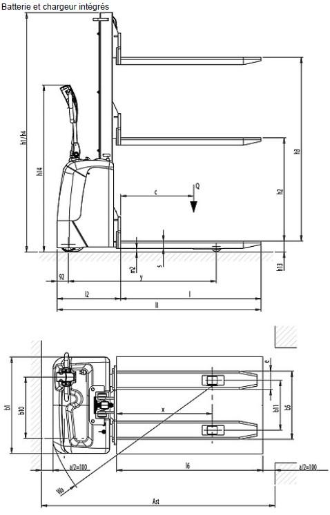Schéma coté gerbeurs motorisés RX Pramac Lifter