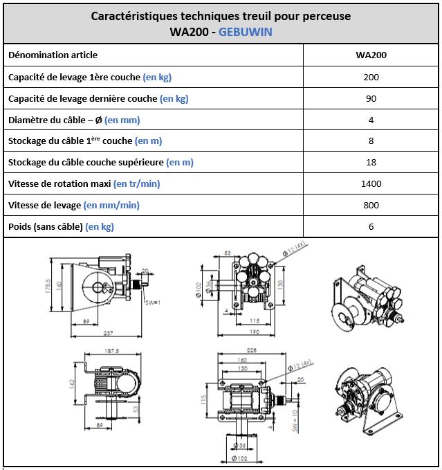 Spécifications techniques du treuil à perceuse WA200 Gebuwin