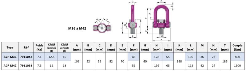 Schéma coté RUD ACP-TURNADO anneau de levage M36 à M42