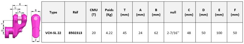 Schéma cotés VCH-SL crochet à container RUD
