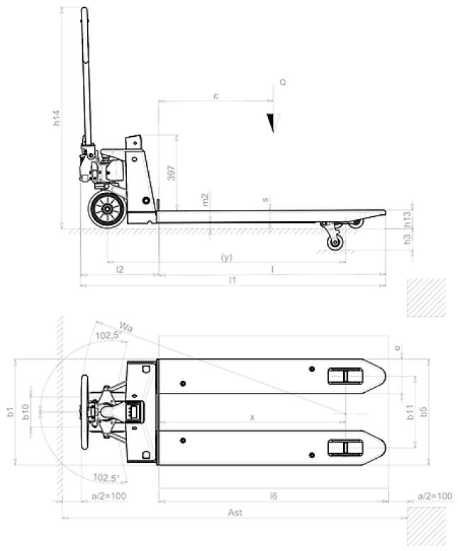 Schéma coté PX20 tire-palette peseur manuel
