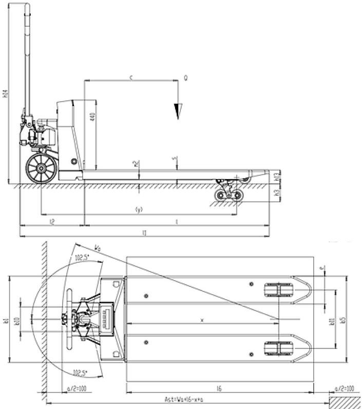 Schéma coté PX25 transpalette peseur manuel