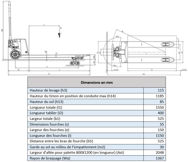 Schéma coté transpalette GS 25S4 Lifter by Pramac