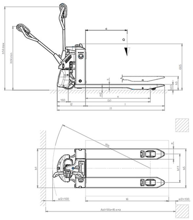 Schéma transpalette électrique EX15L Lifter by Pramac