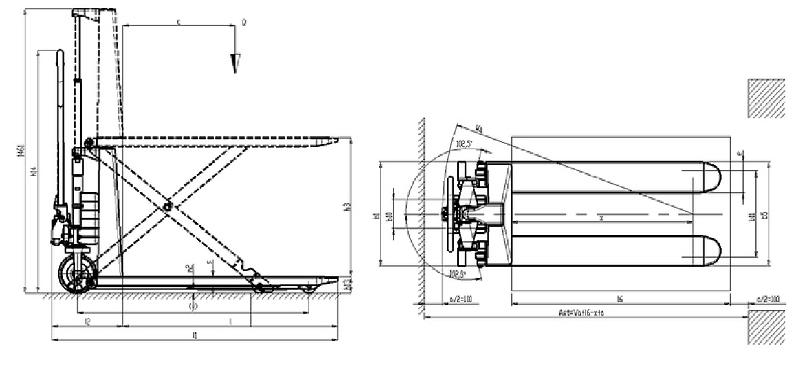 Schéma transpalette haute levée HX10M Pramac