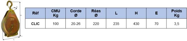 Schéma coté poulie clic à arrêt automatique 100 Kg